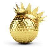 Coroa do ouro da esfera de golfe ilustração royalty free