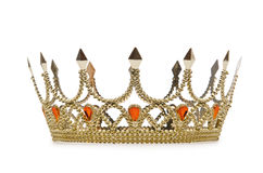 Coroa do ouro no branco Imagem de Stock Royalty Free