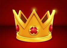 Coroa dourada brilhante no fundo branco ilustração do vetor