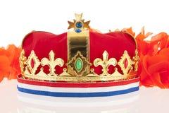 Coroa dourada com cores holandesas Fotos de Stock