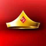 Coroa dourada com gema vermelha Fotografia de Stock Royalty Free