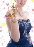 Coroa dourada de uma princesa ou de uma rainha do carnaval Imagens de Stock Royalty Free