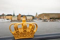 Coroa dourada em Éstocolmo Fotos de Stock Royalty Free