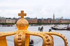 Coroa dourada em Éstocolmo Fotografia de Stock Royalty Free