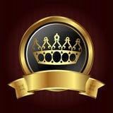 Coroa dourada no círculo ilustração do vetor