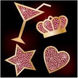 Coroa, estrela, coração, os martinis decorados com Br ilustração stock