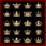 Coroa. Grupo grande. Ícones da coleção. Vetor. Vintage Foto de Stock Royalty Free