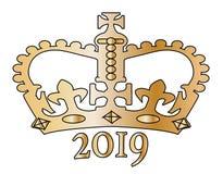 Coroa isolada dourada do ano 2019 novo Imagem de Stock