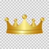 Coroa realística do ouro coroa 3D dourada isolada no fundo transparente Vetor ilustração stock