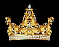 Coroa real do ouro com joias Imagens de Stock