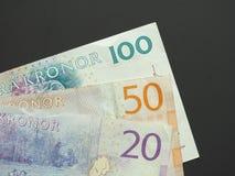 Coroa sueca & x28; SEK& x29; notas, moeda da Suécia & x28; SE& x29; Imagem de Stock