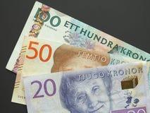 Coroa sueca & x28; SEK& x29; notas, moeda da Suécia & x28; SE& x29; Imagens de Stock