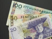 Coroa sueca & x28; SEK& x29; notas, moeda da Suécia & x28; SE& x29; Foto de Stock