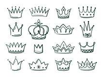 Coroa tirada mão O esboço coroa a tiara majestosa culminante preta elegante simples dos ícones coronais do vintage da coroa da ra ilustração royalty free