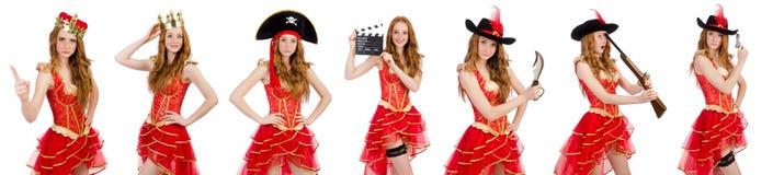 A coroa vestindo da princesa e o vestido vermelho isolados no branco Imagens de Stock Royalty Free