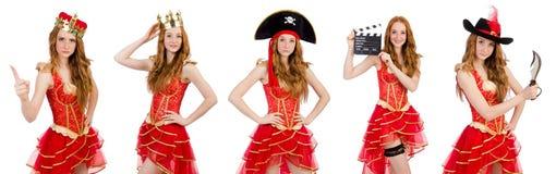 A coroa vestindo da princesa e o vestido vermelho isolados no branco Fotos de Stock