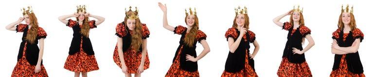 A coroa vestindo da rainha engraçada da mulher no branco Imagens de Stock Royalty Free