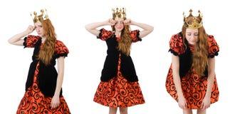 A coroa vestindo da rainha engraçada da mulher no branco Fotografia de Stock