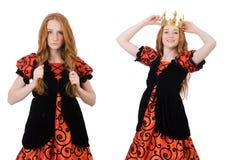 A coroa vestindo da rainha engraçada da mulher no branco Fotografia de Stock Royalty Free