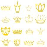 Coroas amarelas tiara diadem Coroa do esboço Tiara tirada mão da rainha, coroa do rei Símbolos imperiais reais da coroação ilustração stock