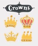 Coroas do ouro ajustadas ilustração royalty free