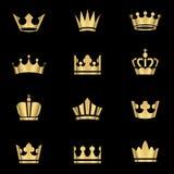 Coroas do ouro ajustadas Fotografia de Stock Royalty Free