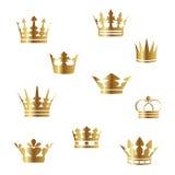 Coroas douradas do vetor Imagem de Stock