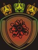 Coroas e emblema ilustração stock