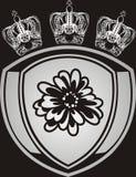 Coroas e emblema de prata ilustração do vetor