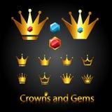 Coroas e gemas Imagens de Stock