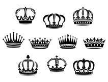 Coroas heráldicas medievais ajustadas Imagem de Stock