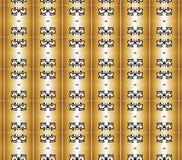Coroas pretas no teste padrão de colunas dourado Fotos de Stock Royalty Free