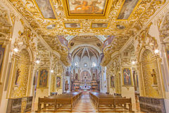 Corodba - nave of baroque church Iglesia de San Augustin with the iconographic decoration by Fray Pedro de Gongora (1617-1633). Royalty Free Stock Photography
