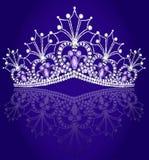 Coroe o diadema feminino com reflexão no azul da volta ilustração royalty free
