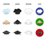 Coroe, tampão do ` s do bobo da corte, cozinheiro, cone Os chapéus ajustaram ícones da coleção nos desenhos animados, preto, esbo Fotografia de Stock
