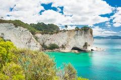 Coromandel. View at Stingray Bay at Cathedral Cove Marine Reserve, Coromandel Peninsula, New Zealand Stock Photos