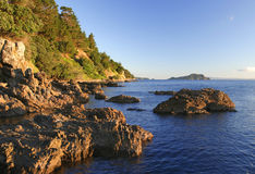 Coromandel Coast. Sunset on the Coromandel Peninsular coastline, New Zealand Royalty Free Stock Image