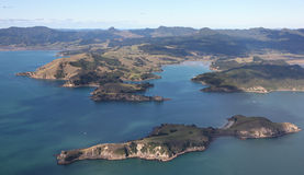 Coromandel Peninsular From the Air. Aerial view of the west coast of the Coromadel Peninsular, New Zealand. Rangipukea Island is in the foreground and Coromandel Royalty Free Stock Images