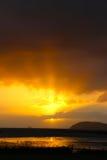 Coromandel  sunset over cow island New Zealand Royalty Free Stock Photo