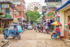 Coron镇街道视图在巴拉望岛,菲律宾 库存图片