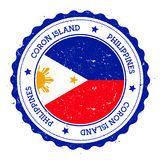 Coron Island flag badge. Vintage travel stamp with circular text, stars and island flag inside it. Vector illustration Stock Photos