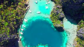 Coron, Palawan, Φιλιππίνες, εναέρια άποψη των όμορφων λιμνοθαλασσών και των απότομων βράχων ασβεστόλιθων φιλμ μικρού μήκους
