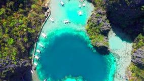 Coron, Palawan, Filipiny, widok z lotu ptaka pi?kne laguny i wapie? falezy zbiory