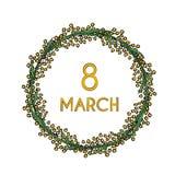 Corona adorabile di festa dell'8 marzo con la mimosa gialla illustrazione di stock