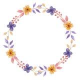 Corona arancio porpora Garland Spring Summer Wedding della foglia dell'acquerello Immagini Stock