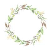 Corona Autumn Garland Wedding Spring Leaves del terreno boscoso dell'acquerello Immagine Stock Libera da Diritti