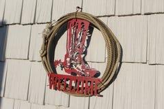 Corona benvenuta della corda del cowboy di rosso Fotografie Stock Libere da Diritti