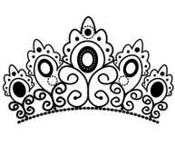 Corona blanco y negro gr?fica con vector real del lirio y de los diamantes stock de ilustración