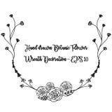 Corona botanica disegnata a mano Decorazione in bianco e nero floreale della corona Fotografia Stock