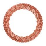 Corona bronzea rotonda dell'alloro Fotografia Stock